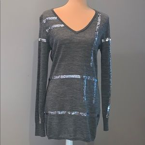 Adrienne Vittadini tunic sweater with sequins
